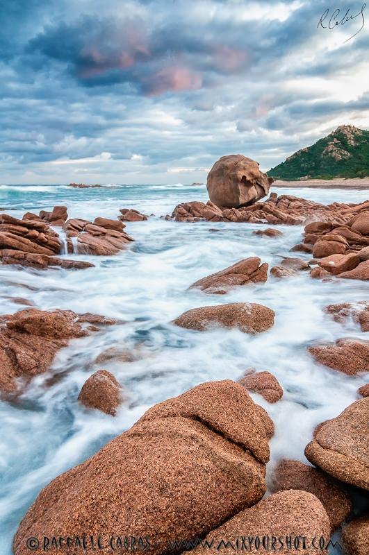 Rocks at sunset. La Spiaggetta (Cardedu) ©Raffaele Cabras. Beautiful beach between the towns of Cardedu and Gairo, Sardinia, Italy