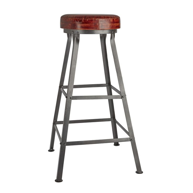 Our bar stool with a brown leather top - http://www.industville.co.uk/collections/vintage-retro-industrial-metal-bar-stools/products/tall-vintage-real-leather-metal-work-bar-stool-32-inch