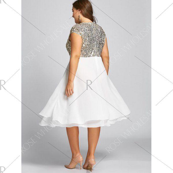 Flounce Plus Size Sequin Sparkly Cocktail Dress - Golden 4xl Mobile