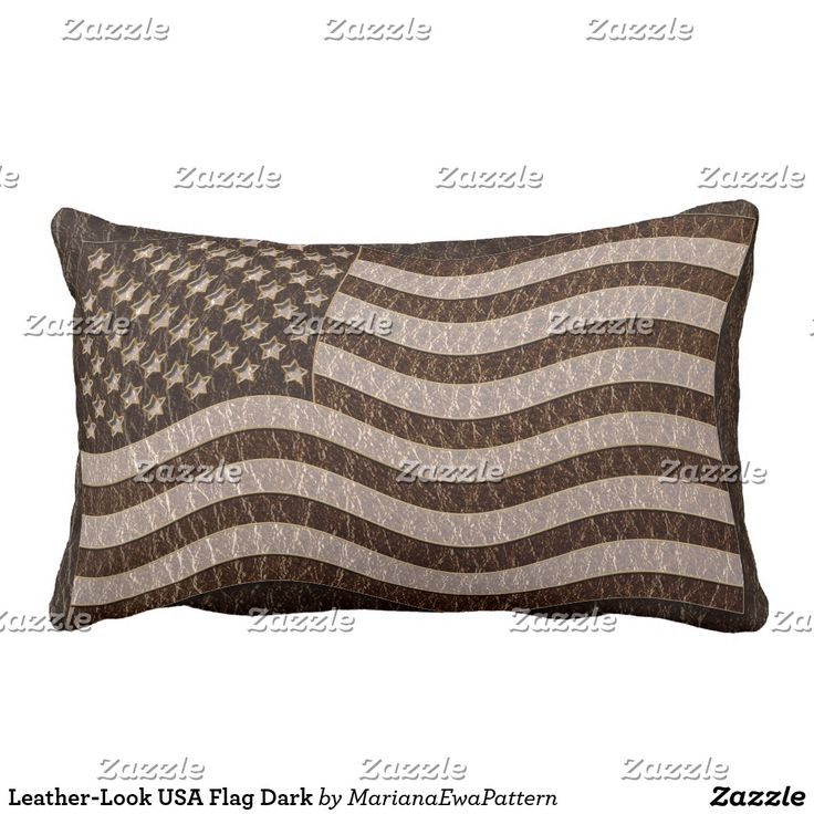 Leather-Look USA Flag Dark Outdoor Pillow