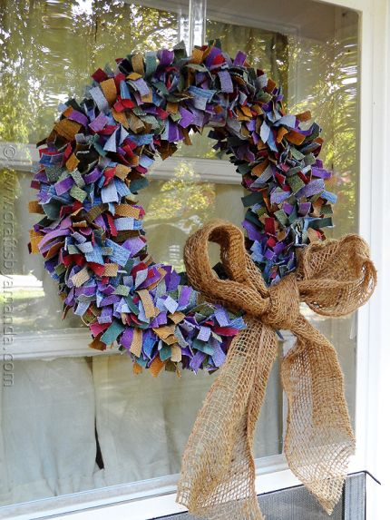 Multi Colored Denim Scrap Wreath.  Made with over-dyed scraps.