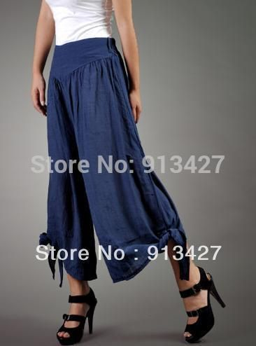 Дешевое 2015 женская мода широкую ногу брюки брюки женские тенсел хлопок широкий брюки Большой размер брюки / капри женщин bow льняные брюки, Купить Качество Брюки и капри непосредственно из китайских фирмах-поставщиках:  Советы: Из-за разницы messuring и эластичность ткани, там будет 1-3 см толерантности, это только для справки&nbsp