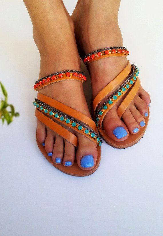 Luxury Sandals ''Celeste'', Bridal Sandals, Greek Sandals, Strappy Sandals