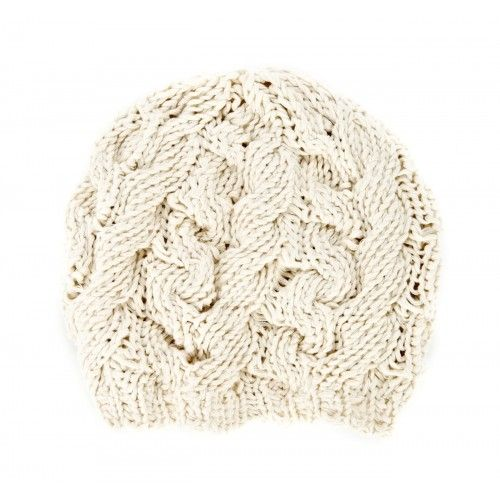 Cable Knit Beret  - Ivory