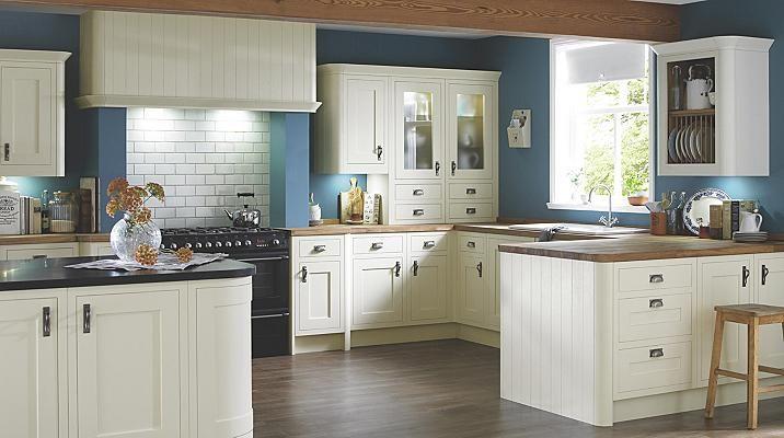 Love this colour scheme - dark walls with white cabinets. B & Q current range
