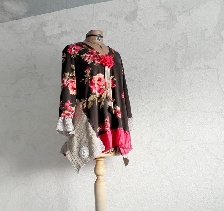 Image of Brown Slouchy Top Floral Shabby Clothing Women's Eco Shirt Boho Chic Upcycled Tunic XL