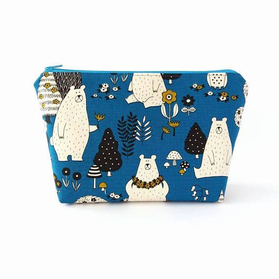 Bear cosmetic bag Blue makeup bag Zip up project bag Large