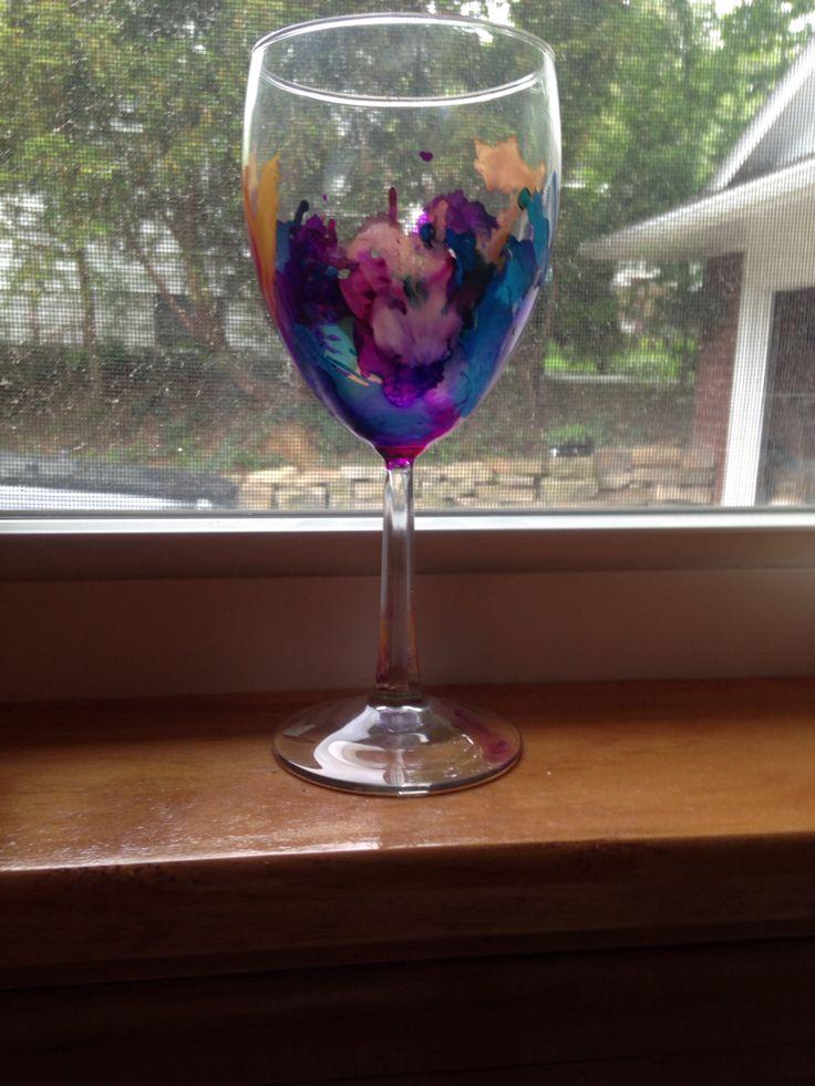 Alcohol ink wine glasses spring pinterest ink