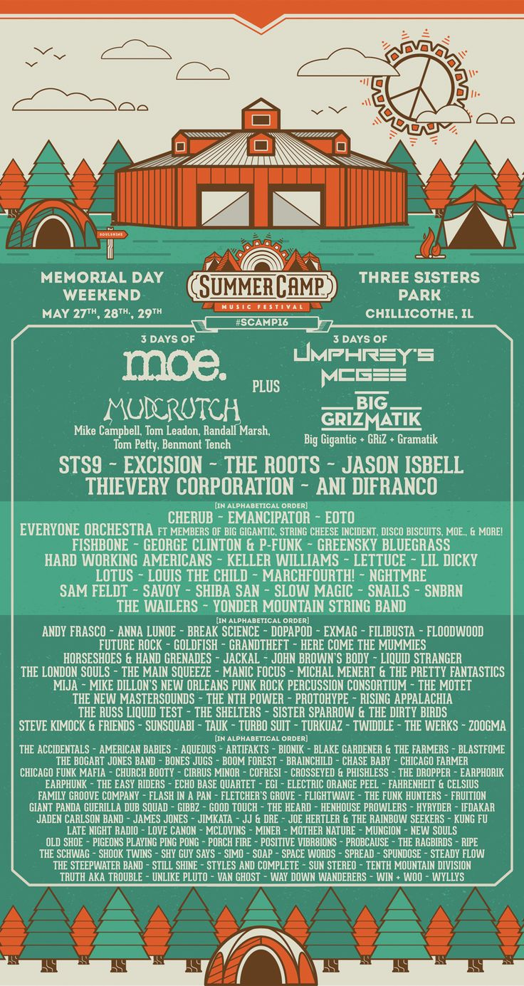 Here it is! The full lineup for Summer Camp Music Festival #SCamp16! Who are you excited to see SCampers?!