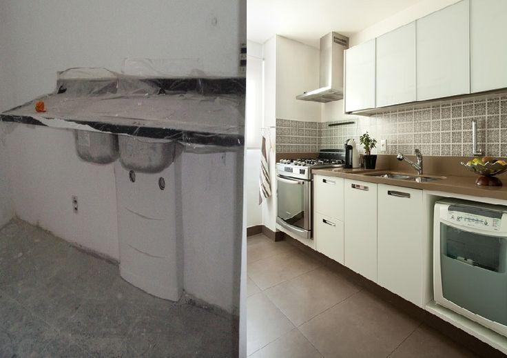 A transformação de uma cozinha, moderna e clean.Projeto e decoração de Liliana  Zenaro Interiores, para apartamento de  180m2 em Moema, SP.🌿🏠 #lilianazenaro #decoracao #reforma #interiores #designdeinteriores #projeto #cozinha #copa