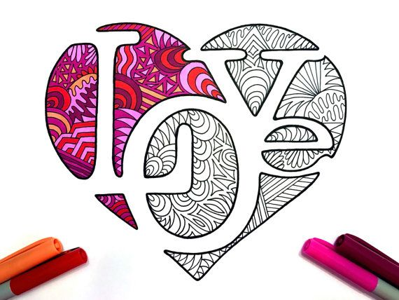 LOVe = Negative Space LOVE Heart PDF Zentangle Coloring Page von DJPenscript auf Etsy