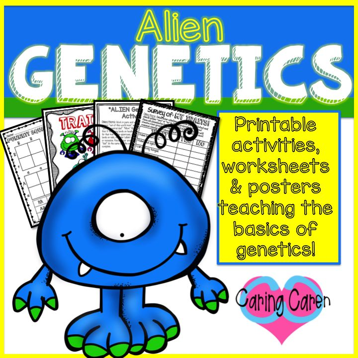 TPT Alien Genetics Printables CaringCaren Genetics is one of my favorite science subjects to teach because there is SO much you can do! Print out this pack and you will have DAYS of material/activities that are fun and engaging for your students – all while learning & reviewing the basic genetics concepts and terms!
