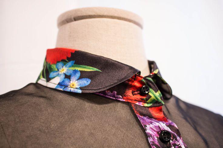 Particolare camicia in raso e organza di seta