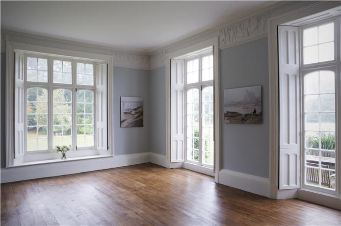 farrow ball paint color skylight 205 i love the blue walls white trim and wood floors