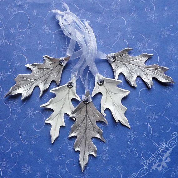 Silver And White Oak Leaf Ornaments