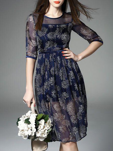 Paneled Printed Silk #Midi #Dress