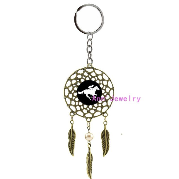 425-horse racing keychain Horse race dreamcatcher custom your sport profile feather custom silhouette indian and house