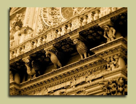Santa Coce's collection of Gargoyles. Lecce, Puglia.
