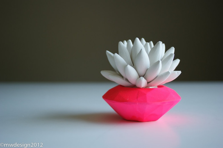 Neon Pink Modern Faceted Geometric Container, White Succulent Sculpture, Desktop, Tabletop Centerpiece. $17.00, via Etsy.