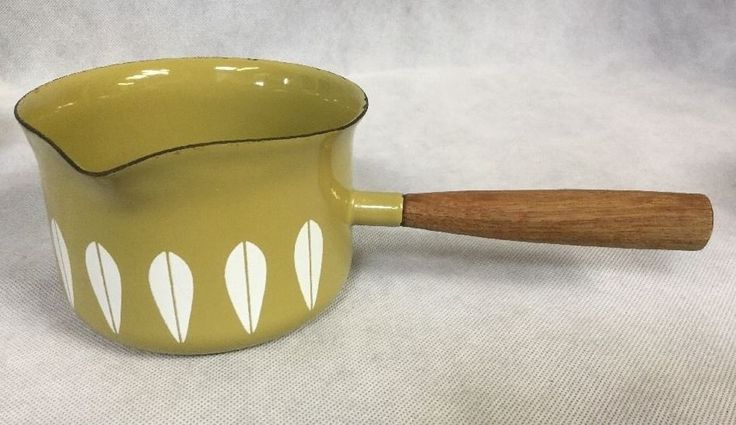 Midcentury 1960s Vintage Cathrineholm Green Lotus Enamelware Milk Pan Saucepan