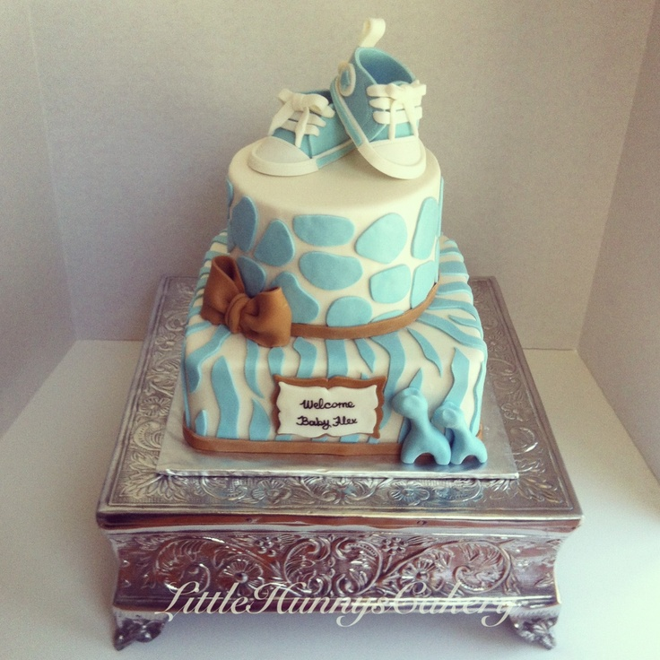 Elegant baby boy baby shower cake. Zebra print and cheetah print in ...