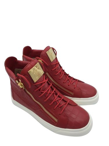 GIUSEPPE ZANOTTI RED Double-Zip High-Top Sneakers Retail Size 9.5
