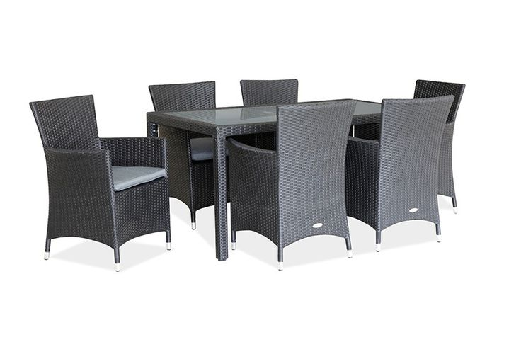 Eden 7pce Dining Setting - Dreaming of Summer? Get your outdoor space ready now with some new furniture so that you can enjoy every moment of it when it arrives!   The 6 seater Eden Dining Setting is a beautiful addition to any outdoor area, whether it be a decking, an alfresco dining area or around the pool. The current model black wicker chairs come with comfortable and durable seat cushions with zips in charcoal outdoor fabric. The 1.6m table also has tightly woven wicker around a…