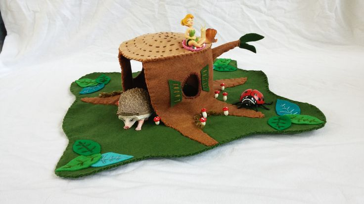 Wool Felt Tree Stump Playscape Play Mat dollhouse woodland red myshrooms hollow log forest gnome fairies animal pretend play child green by MyBigWorld2015 on Etsy