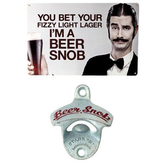 Beer Snob Gift Set - Bar Sign & Wall Mount Bottle Opener