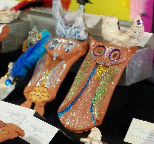 Clay owls by grade six.