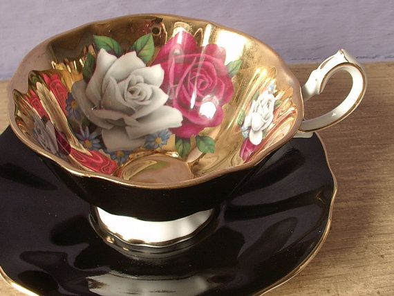 Black and Pink Tea Set | ... tea cup set, Queen Anne English bone china tea cup, black gold tea cup