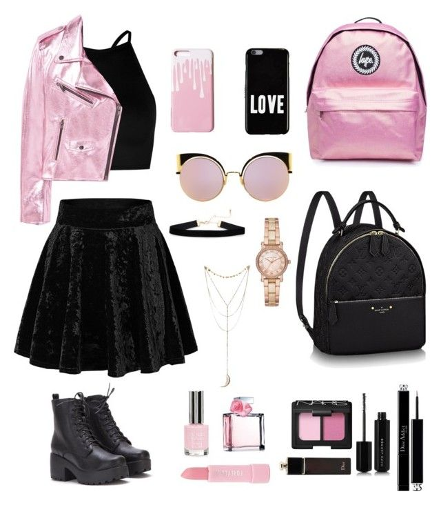 """Pink-Black edition"" by livfanllya on Polyvore featuring Boohoo, MANGO, Topshop, Fendi, Givenchy, Michael Kors, Ralph Lauren, Forever 21, NARS Cosmetics and Christian Dior"