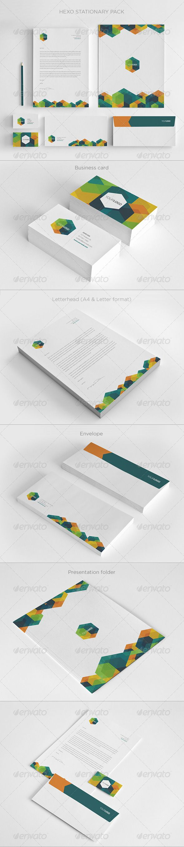 Modern Hexo Stationary Pack #GraphicRiver Hexo Stationary Pack Pack includes: · Letterhead A4 and Letter size · Business Card (3,5×2) · Envelope (8.27×3.9) · Presentation Folder (9×12) · Editable Illustrator files (.AI and .EPS) · Textures · 300 dpi, CMYK (print ready) · 3mm bleed and crop marks · Easy to customize · Help file Fonts Titillium You can purchase the matching brochure here You can purchase the matching trifold here Create...