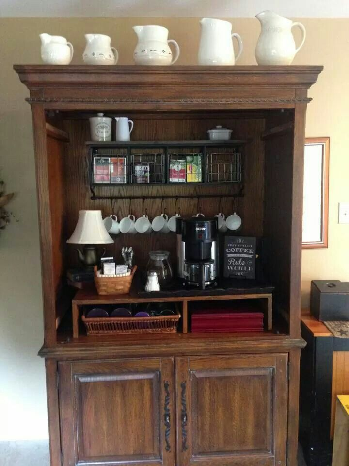 Entertainment center turned coffee bar home pinterest for Kitchen coffee bar cabinets