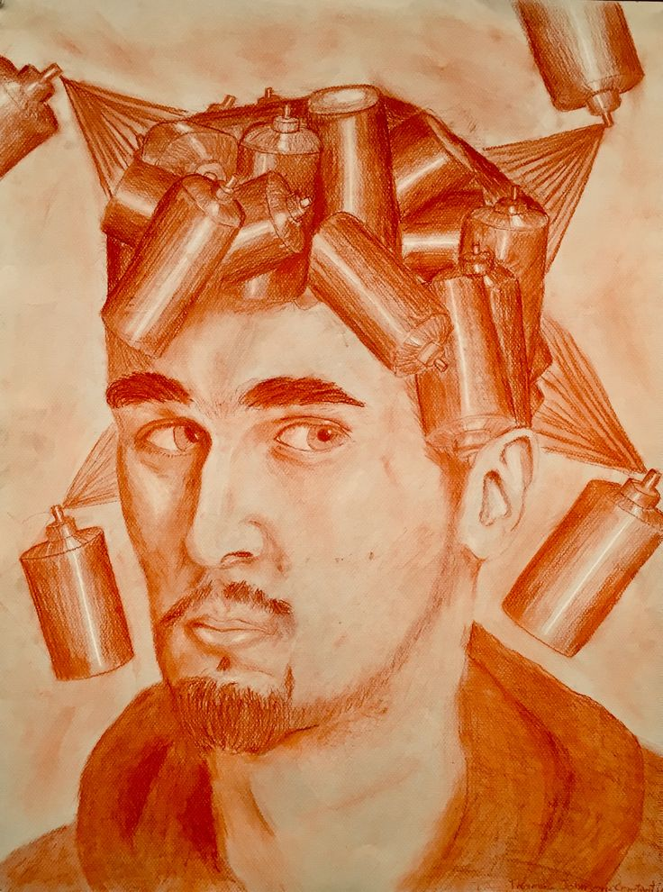 Autoportrait symbolique - Thomas Johnson-Constantin #alc #bdeb #art #college #cegep #dessin #drawing #autoportrait #portrait