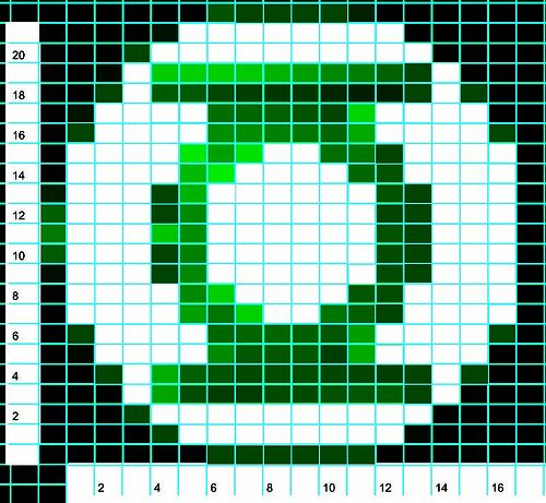 Cool Green Lantern logo chart from an  awesome, original Green Lantern sweater #knitting