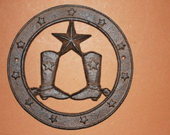 Check out 1) wall plaque, cast iron Lone Star cowboy wall plaque, cowboy boots &Lone Star wall decor, Texas farm decor, free shipping, W-21 on wepeddlemetal