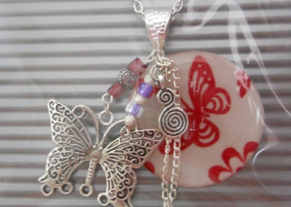 Resin Butterfly Pendant Necklace by JewelleryByJody on Etsy, $19.00