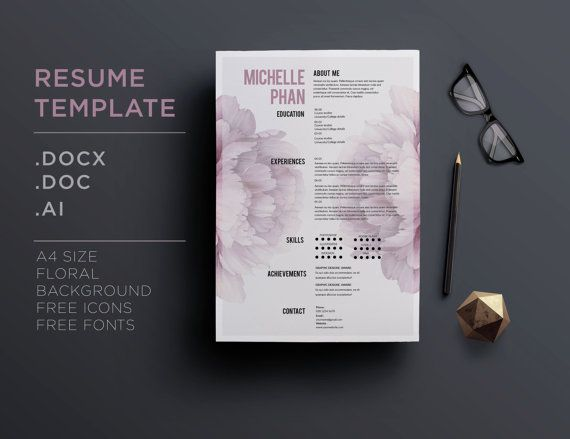 cv template    1 page resume   cover letter   elegant floral background     creative cv design