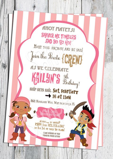 Jake and the Neverland Pirates Birthday Invitation: Printable Girls Pirate Invite, Matching Party Printables, other Invitations Available by partyprintouts on Etsy https://www.etsy.com/listing/121555875/jake-and-the-neverland-pirates-birthday
