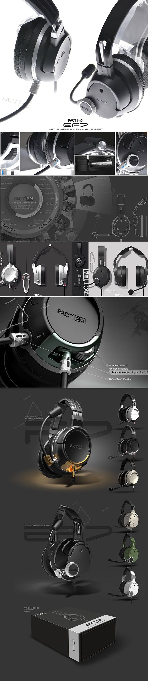 New headset design, for Factem, french audio military products manufacturer.
