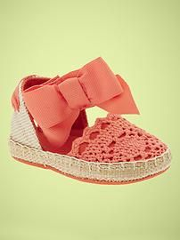 coral crocheted espadrilles- SO CUTE!! @Jessica Conger- please get these for her!!