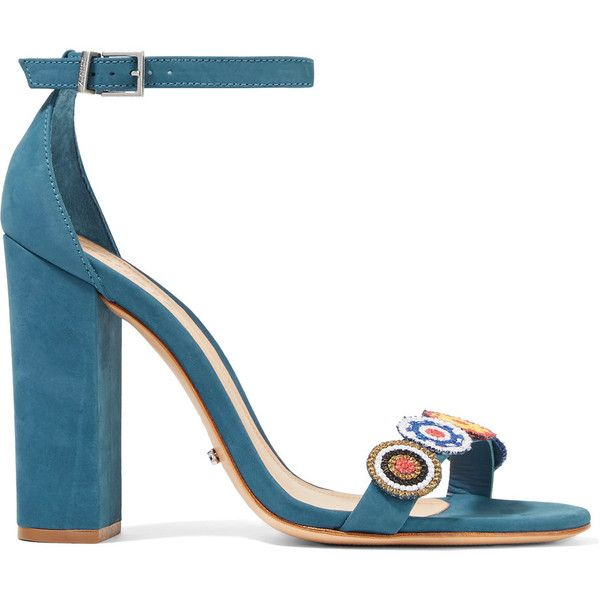 Schutz - Luciola Embroidered Suede Sandals ($95) ❤ liked on Polyvore featuring shoes, sandals, blue, blue suede sandals, blue high heel sandals, high heeled footwear, embroidered sandals and blue suede shoes