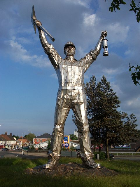 "Brownhills Miner statue commemorating all miners but sculpted in the image of Jack ""Jigger"" Taylor who was killed when the roof of Walsall Wood pit collapsed in 1951."