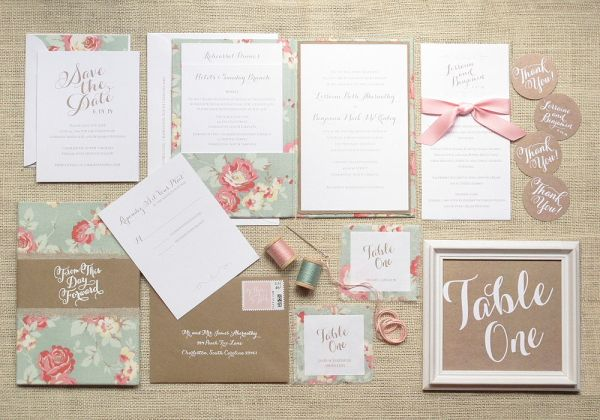 Vintage Floral Cotton Wedding Invitations via Oh So Beautiful Paper | Design + Photo Credit: Blue Magpie #wedding #invitations