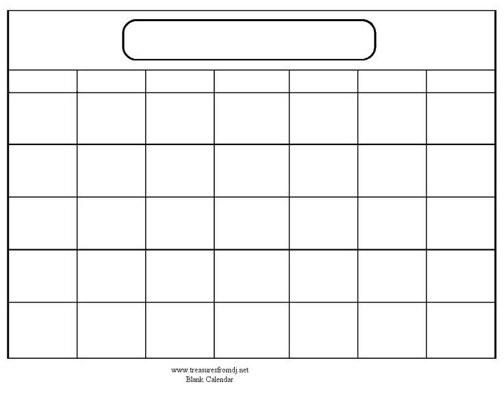 Blank Calendar Template Free small, medium and large images - workout calendar template