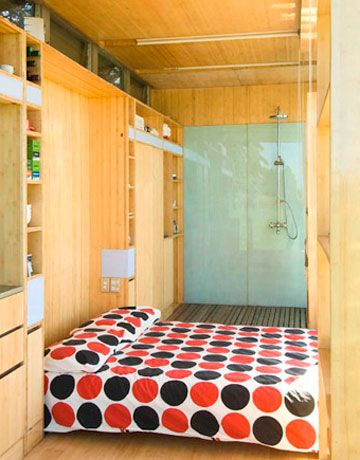 Interior of Port-a-Bach portable vacation home. Contemporary and cozy!