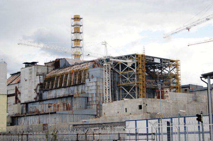 Chernobyl reactor 4 with the old sarcophagus