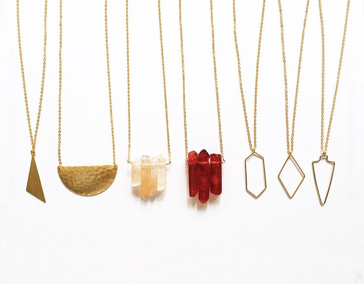 SHAPES Collection   Gold plated long necklaces with different geometric shapes and quartz crystals