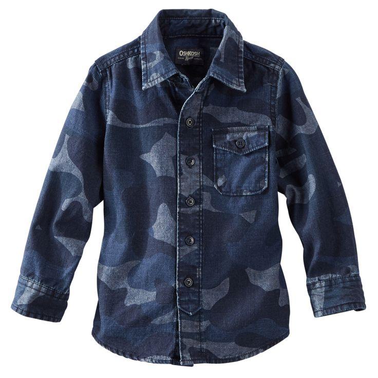 Chambray Camo Shirt - OshKosh B'gosh - Look aventurero denim - 100% algodón chambray